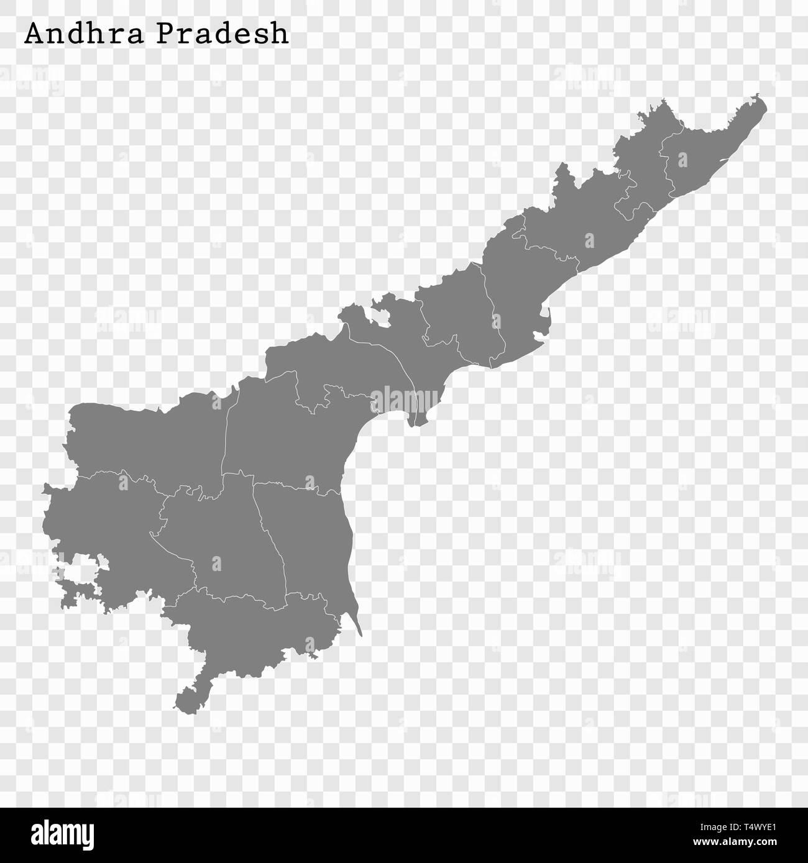 Carte de haute qualité de l'Andhra Pradesh est un état de l'Inde, et les frontières des districts Photo Stock