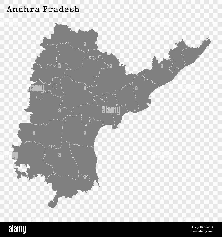 Carte de haute qualité de l'Andhra Pradesh est un état de l'Inde avant 2014 , dont les frontières des districts Photo Stock