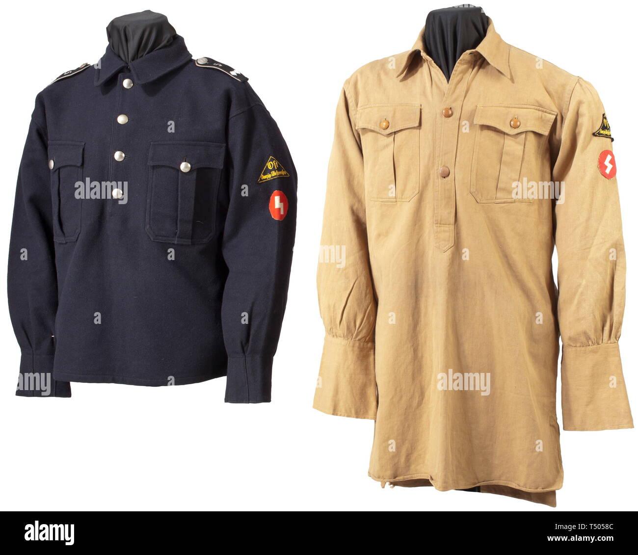 Une Patrouille Dj Et Chemisier Shirt Danzig Westpreussen Le Corsage De Drap Bleu Fonce Avec Des