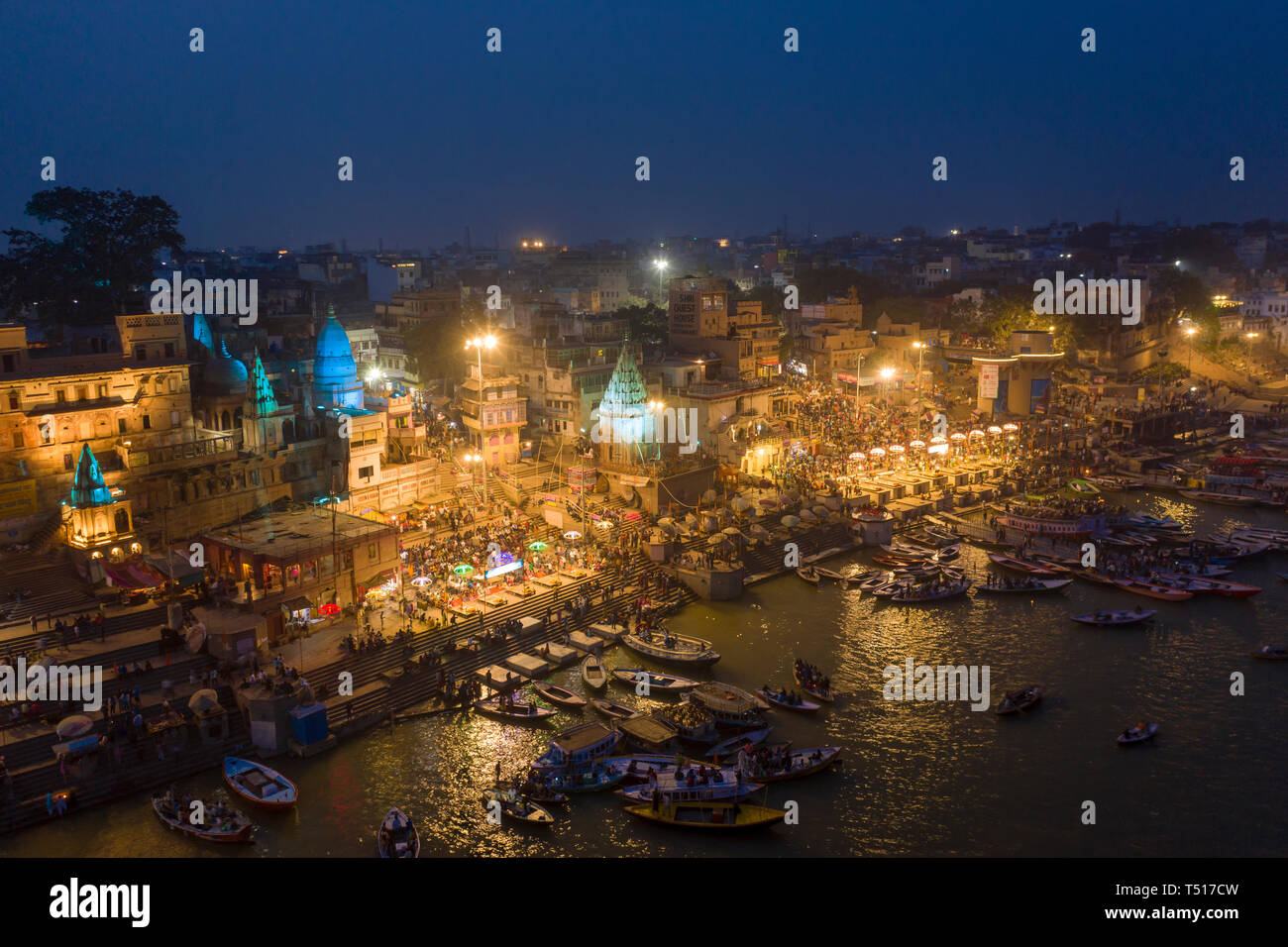 L'Inde, Uttar Pradesh, Varanasi, fleuve Gange Ghats et historique Photo Stock