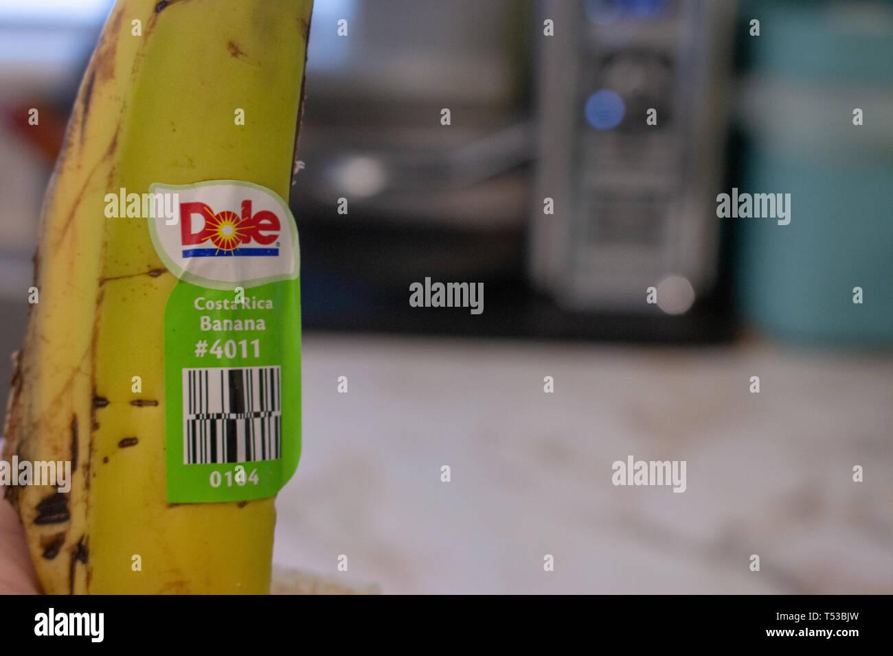 London Canada, 20 avril 2019: Editorial photo d'illustration d'une peau de banane qui a un autocollant Dole banane du Costa Rica. Costa Rica Photo Stock
