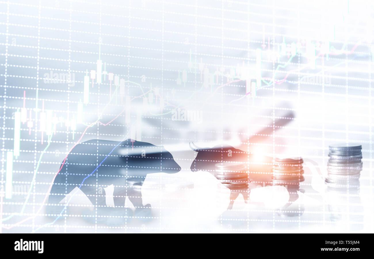 Résumé Contexte financier et d'affaires avec une bougie tableau graphique stock. Bull et bear commerçants concept concept. Banque D'Images
