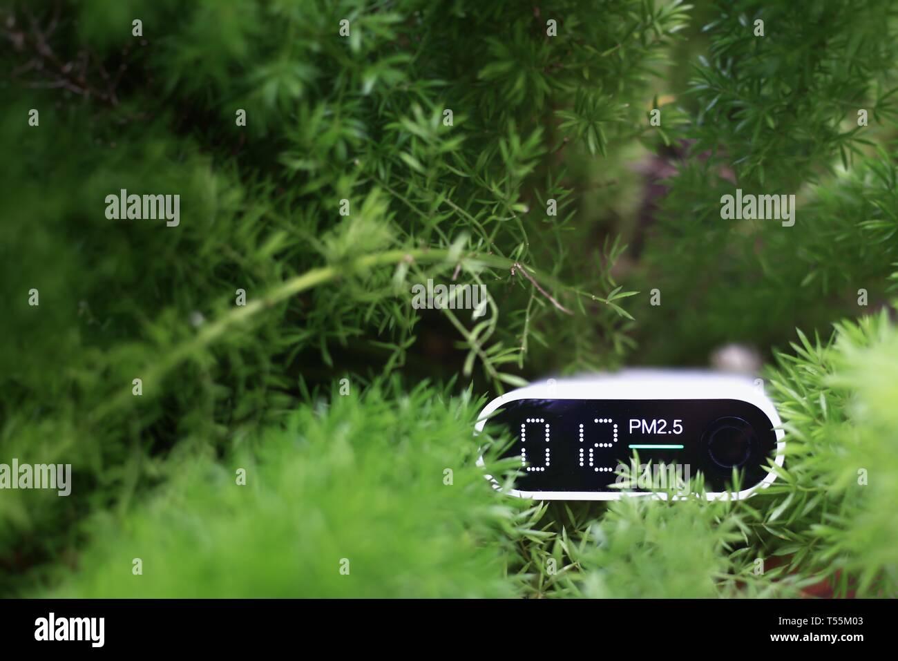 La mesure de la qualité de l'air extérieur. les particules (PM 2.5.2.5) capteur dans un buisson. Une poussière nuisible indiqué détecteur acceptable de qualité de l'air en bonne santé Banque D'Images