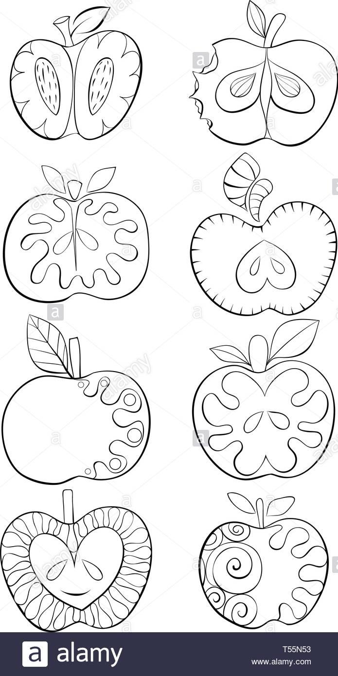Un Ensemble De Pommes Pour L Image De Dessin Anime L