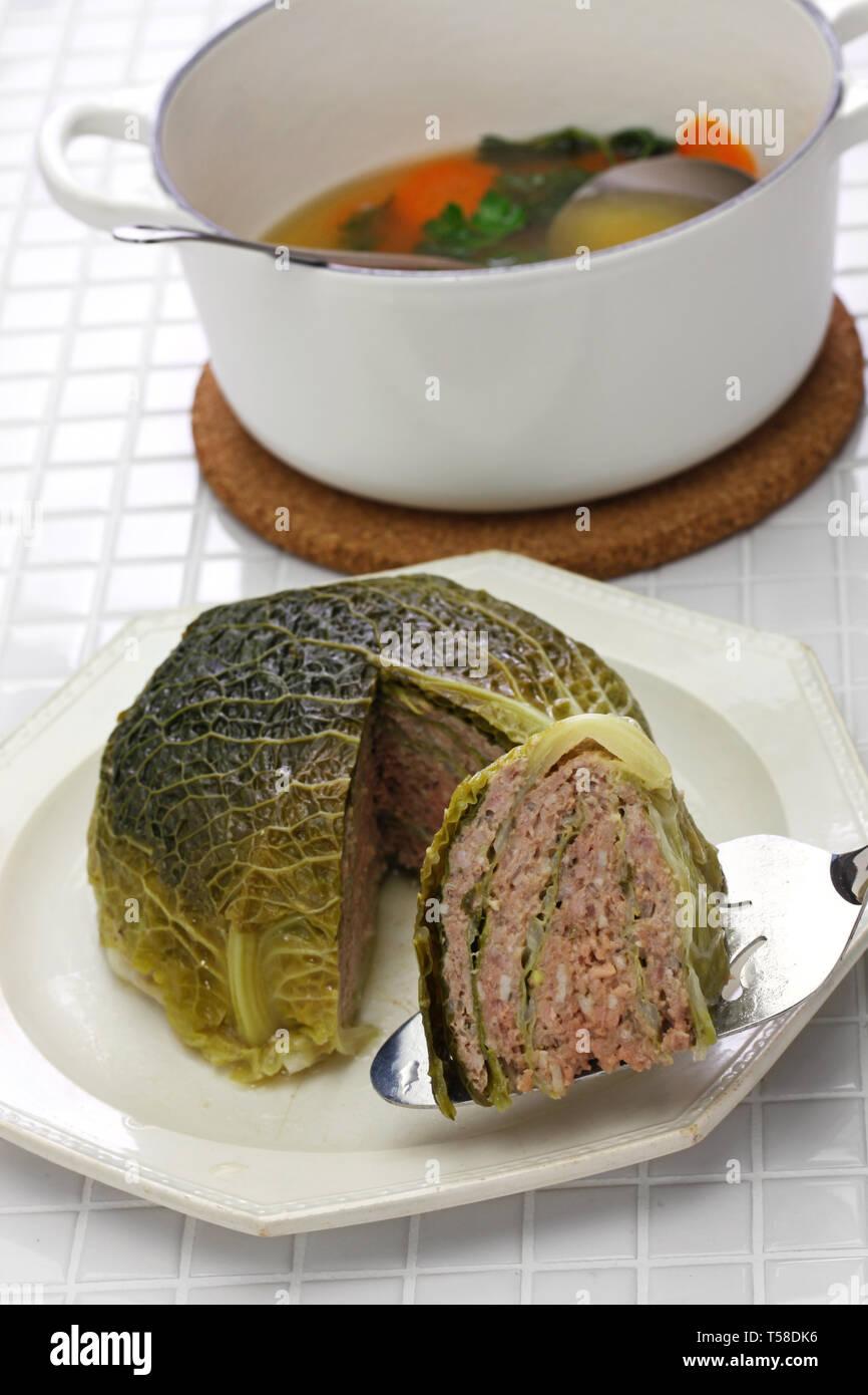 Chou farci, chou farci, une cuisine traditionnelle française Photo Stock