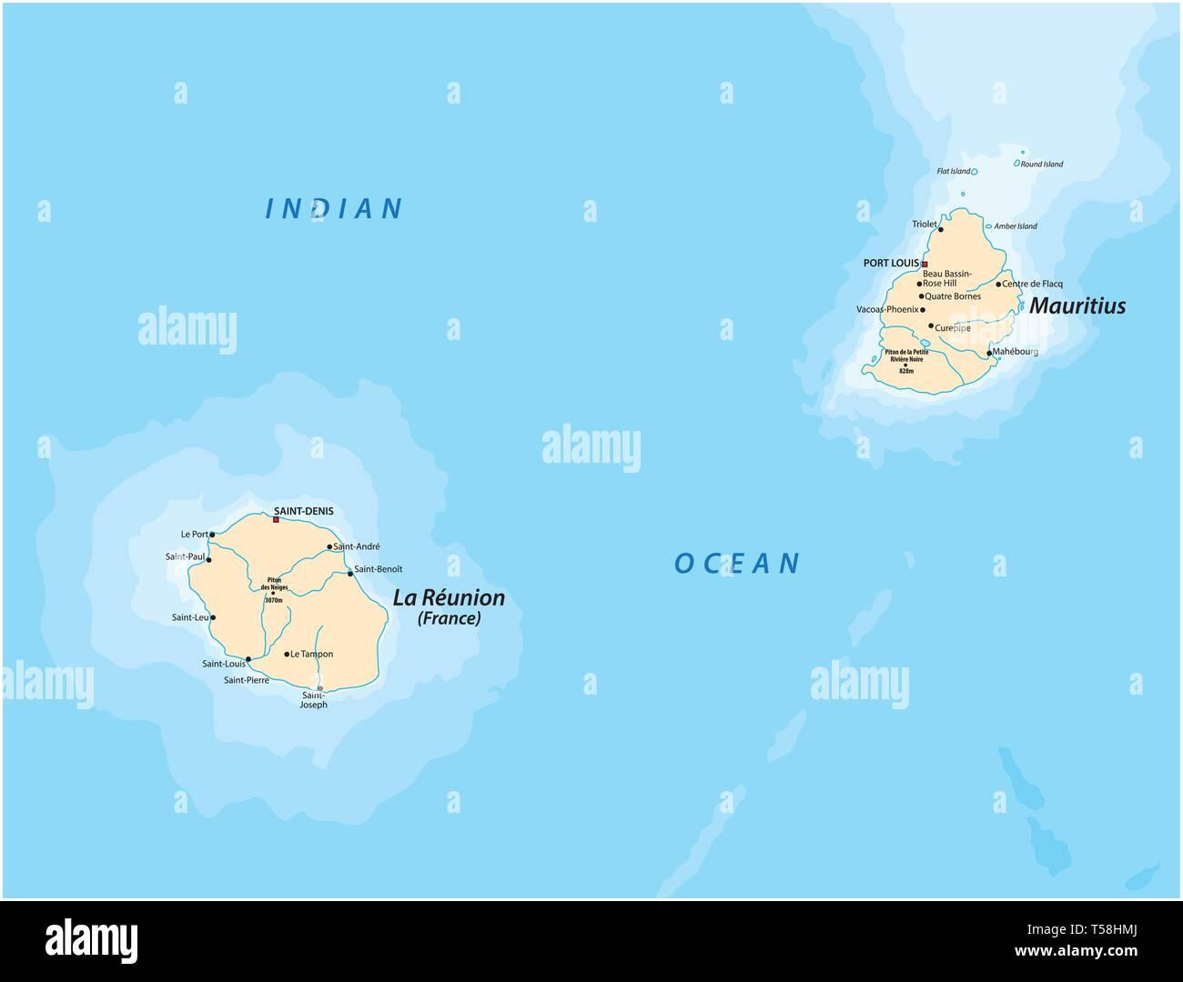 Carte Reunion Maurice.Carte Vectorielle De L Iles Mascara La Reunion Et L Ile