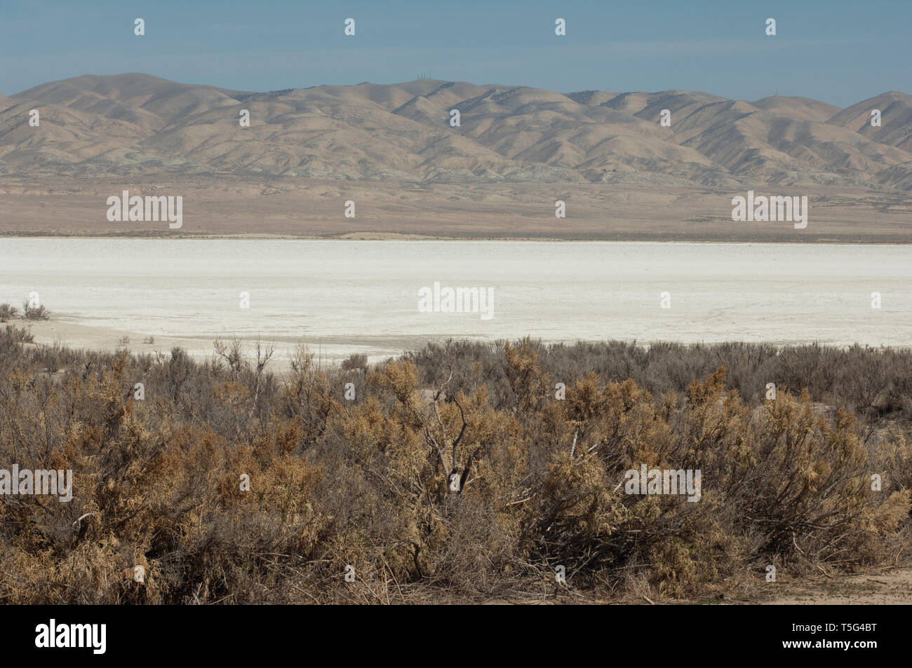 Soda Lake sur la faille de San Andreas, Carrizo Plain National Monument (Californie). Photographie numérique Photo Stock