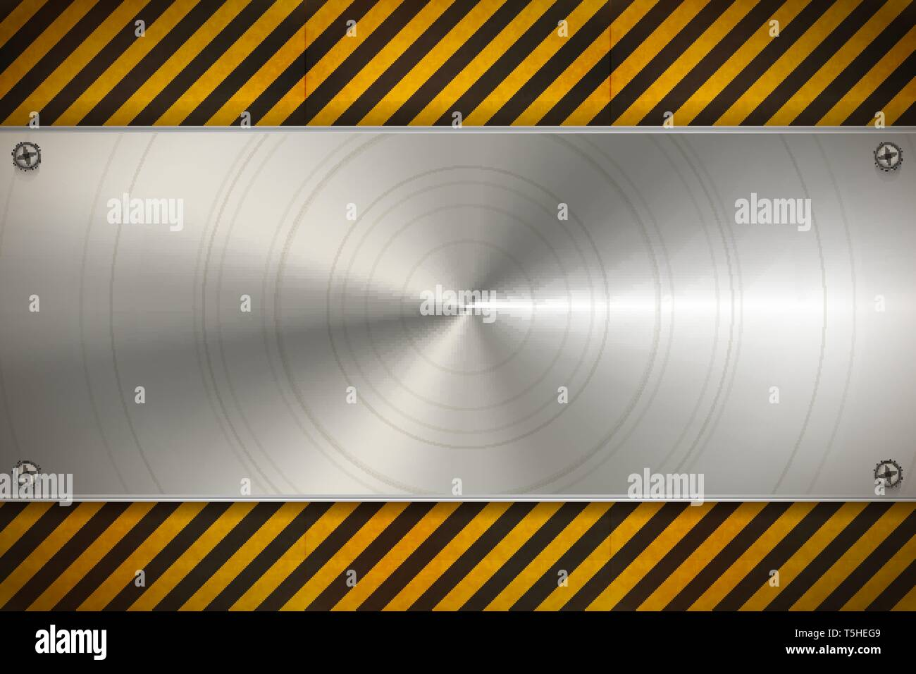 Contexte industriel métal poli avec plaque vierge sur l'avertissement d'usure avec motif rayures rouges et blanches Photo Stock
