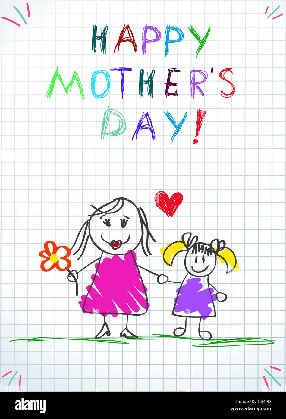 Heureux Le Jour De Mères D Enfants Dessins Au Crayon Coloré