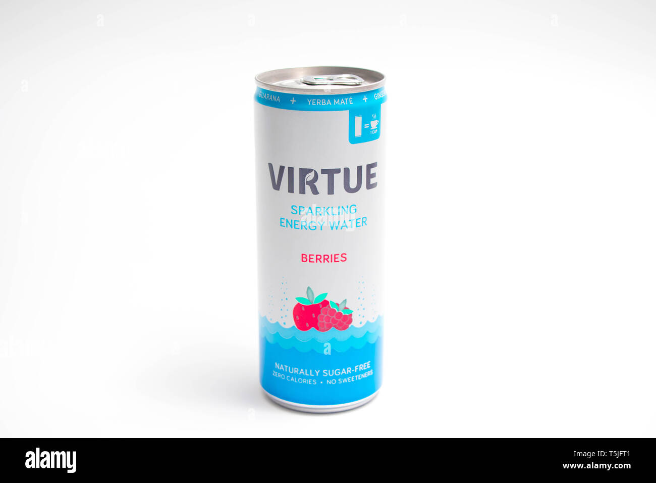 Vertu de l'eau pétillante pouvez energy drink Photo Stock