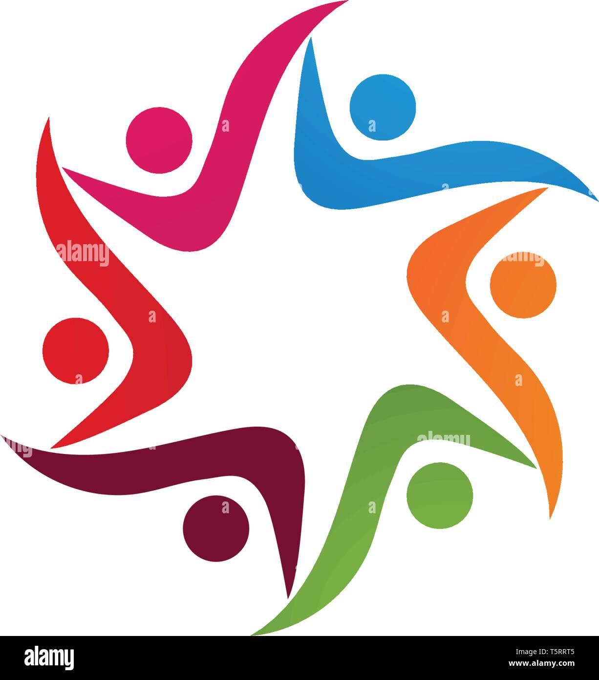 Les gens se soucient de la communauté et des symboles logo template Illustration de Vecteur