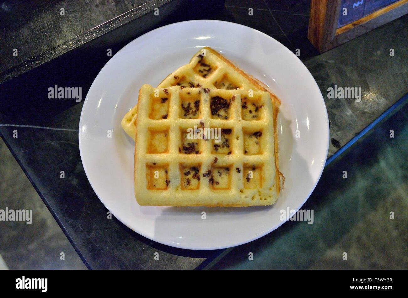 Gaufre Choco saupoudre de cuisson Photo Stock