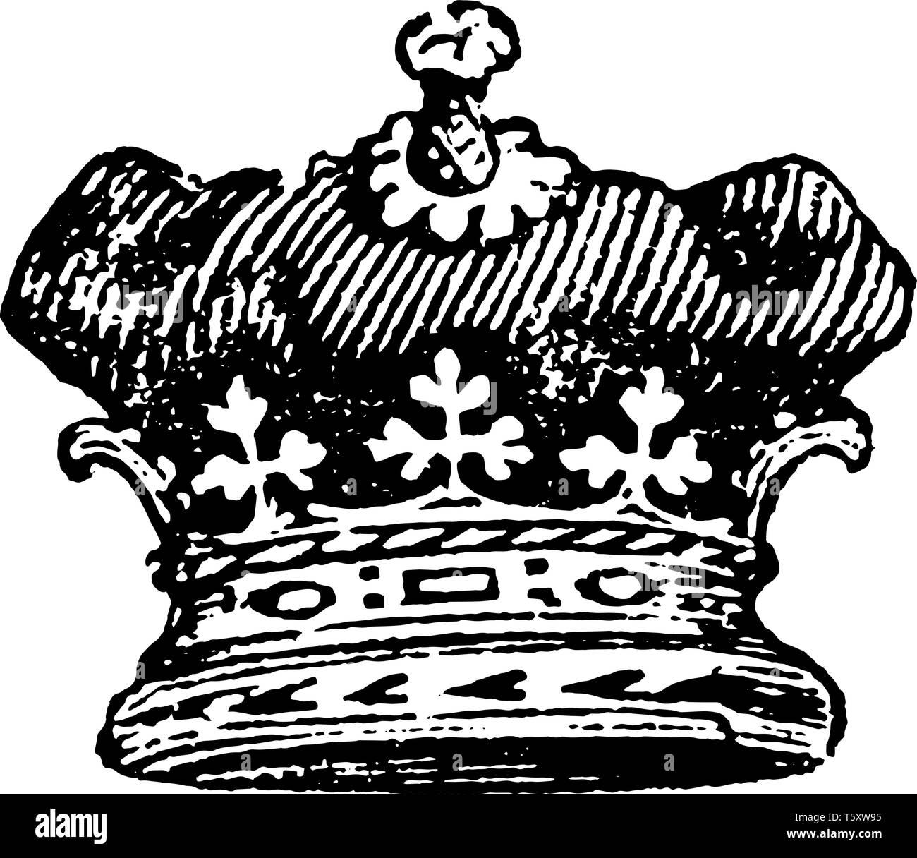 Duc Coronet est porté par un empereur, vintage dessin ou gravure illustration. Photo Stock