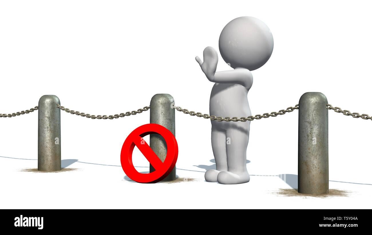 Les chaînes 3D les gens derrière des blocus et stop - séparés on white Photo Stock