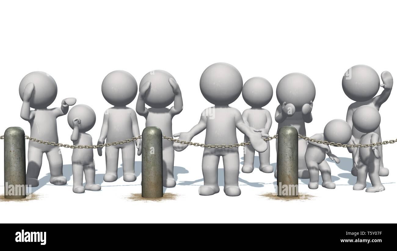 Les gens des chaînes 3D derrière blocus - séparés sur fond blanc Photo Stock