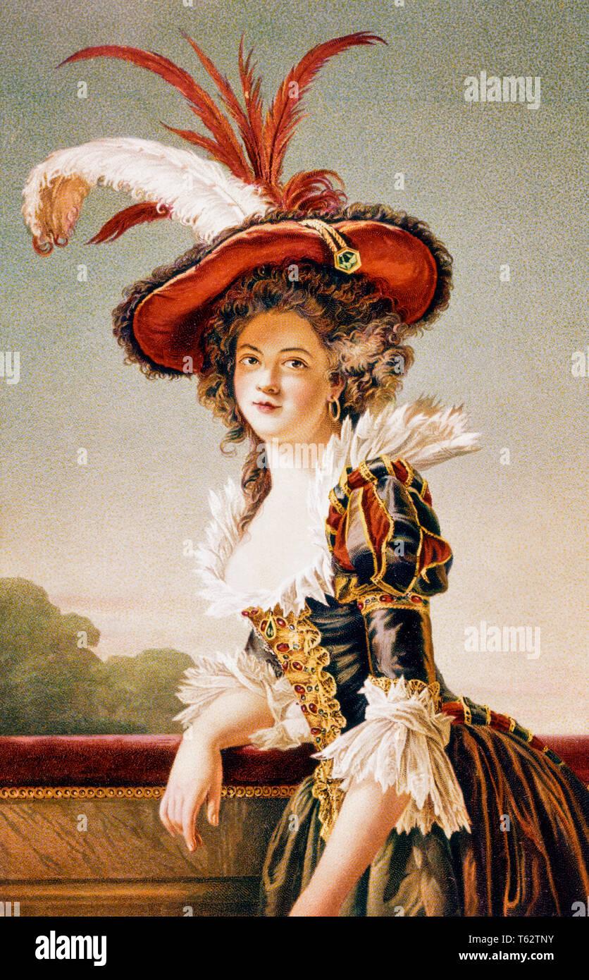 1700s 1750s femme vêtue DE LA HAUTEUR DE LA MODE du 18ème siècle à la caméra est à LOUISE ÉLISABETH DE FRANCE, SŒUR DE LOUIS XVI - ka3132 HAR001 HARS VOLANTS PLUMES D'AUTRUCHE élégants panaches LOUISE FASHIONS 1700s 1750s 18ème siècle, l'origine ethnique caucasienne DECOLLETAGE HAR001 LOUIS XVI Old Fashioned Banque D'Images