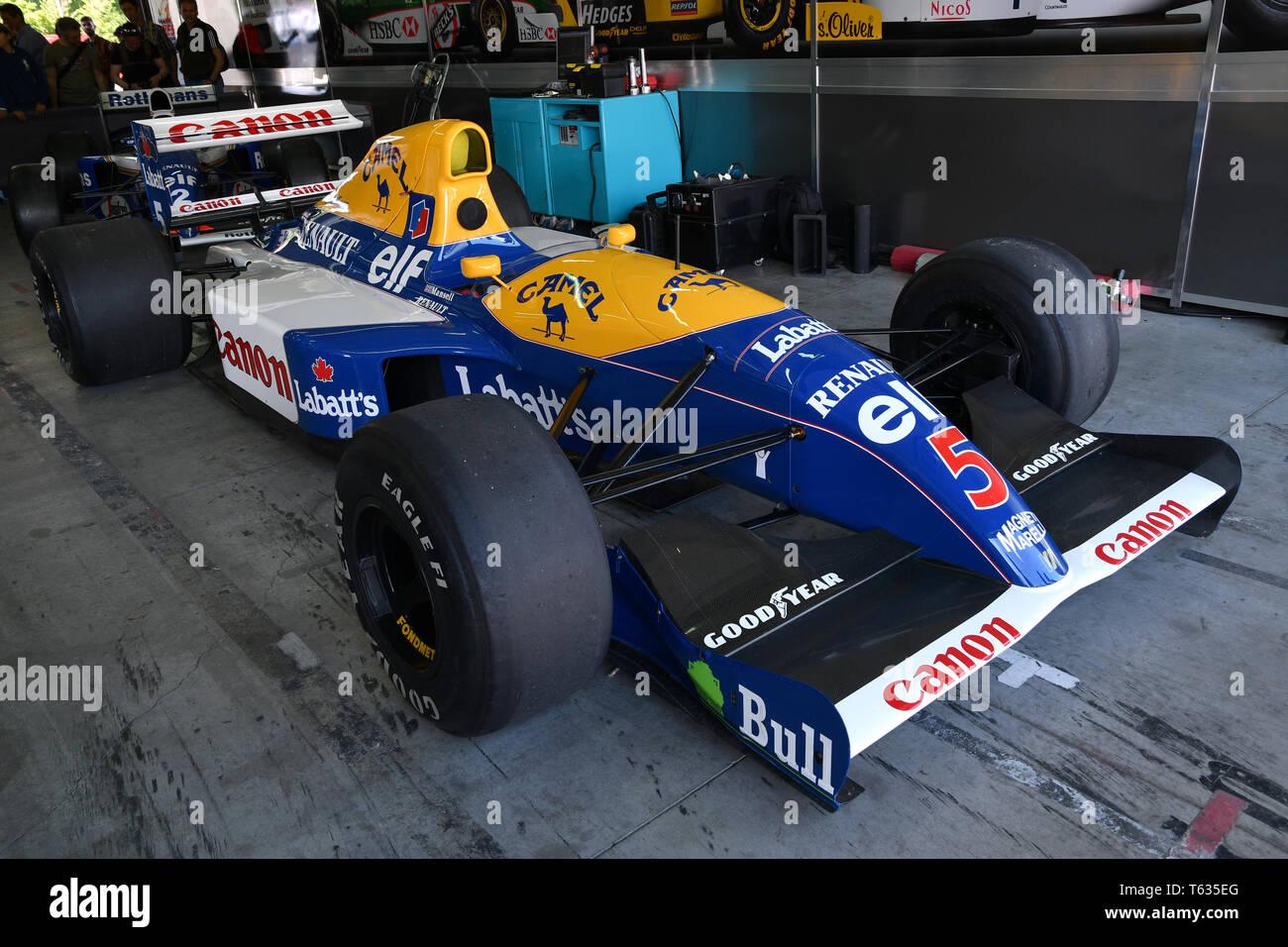 Imola, 27 avril 2019 Historique 1992: F1 Williams FW14B ex Riccardo Patrese - Nigel Mansell au cours de Minardi jour Historique 2019 au circuit d'Imola Banque D'Images