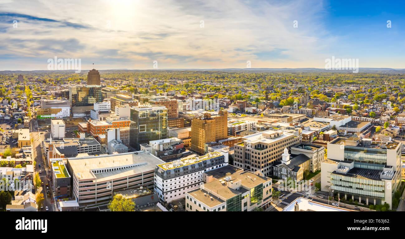 Panorama de l'antenne de Allentown, Pennsylvania skyline Photo Stock