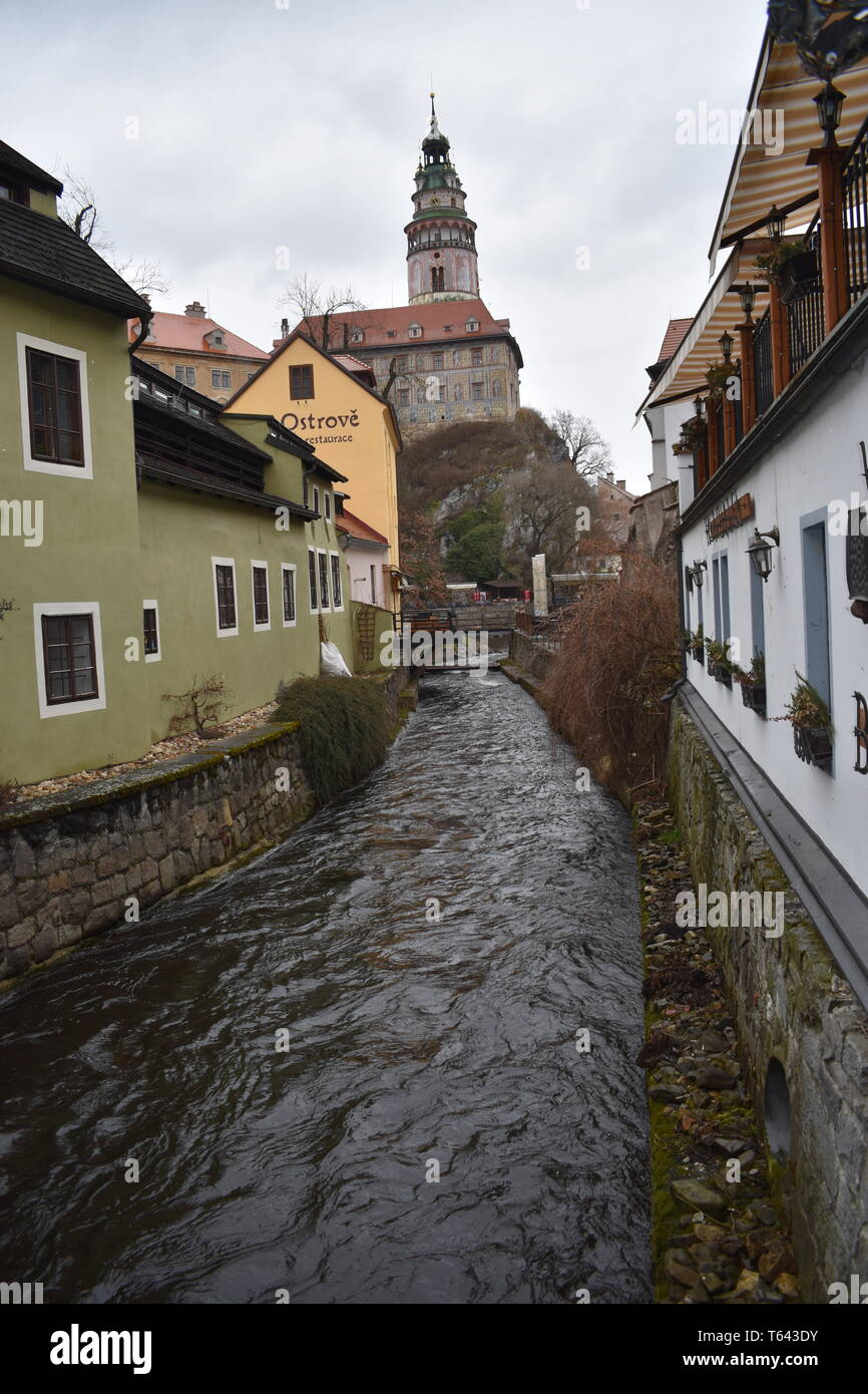 Kresty Krumlov République Tchèque 18 Mars 2017 Billet Czech Rep Best 10 Top 10 des plus beaux paysages Rep Tchèque historique histoire de l'Europe Voyage Banque D'Images