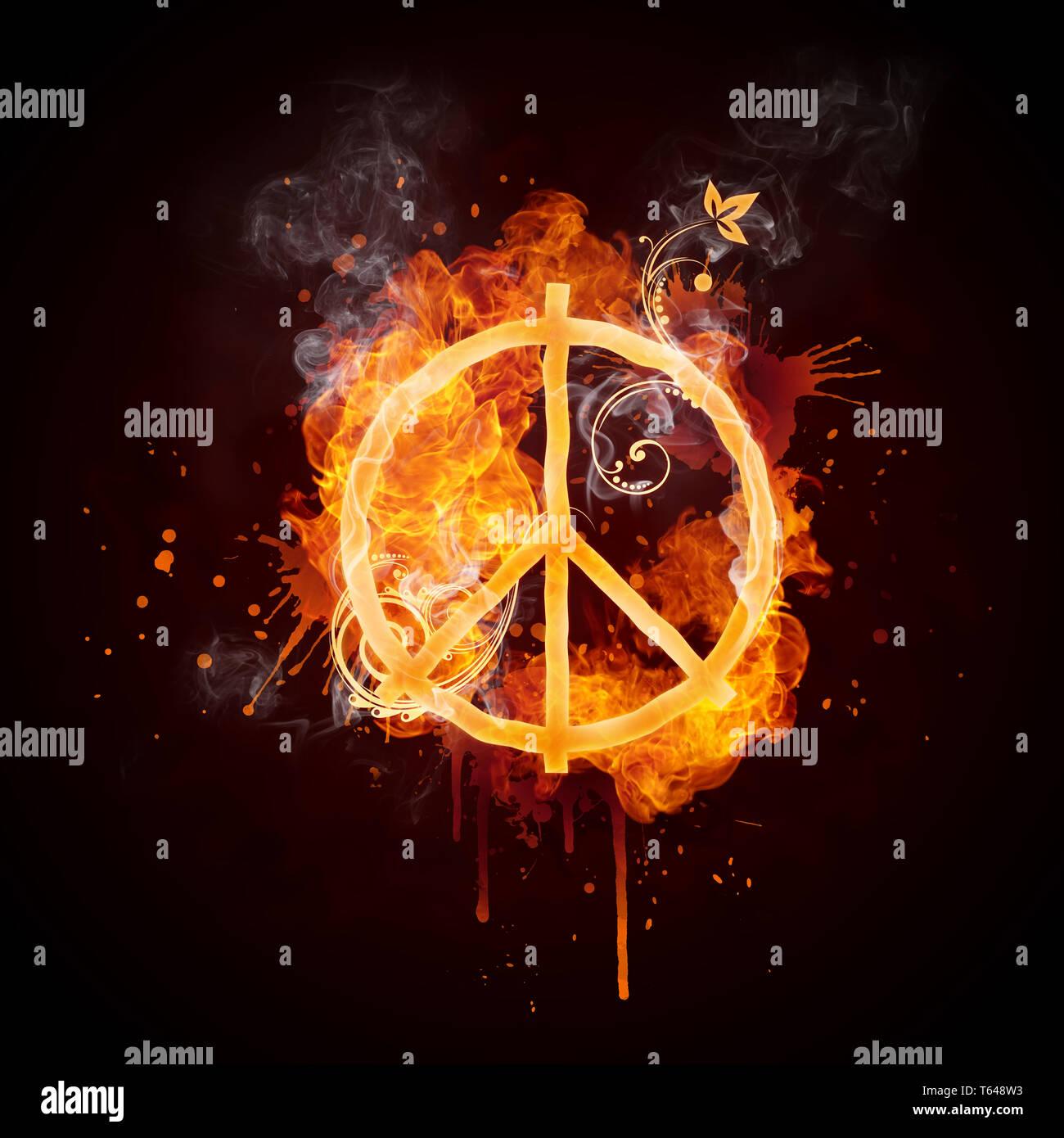 Le pacifisme de turbulences du feu Photo Stock
