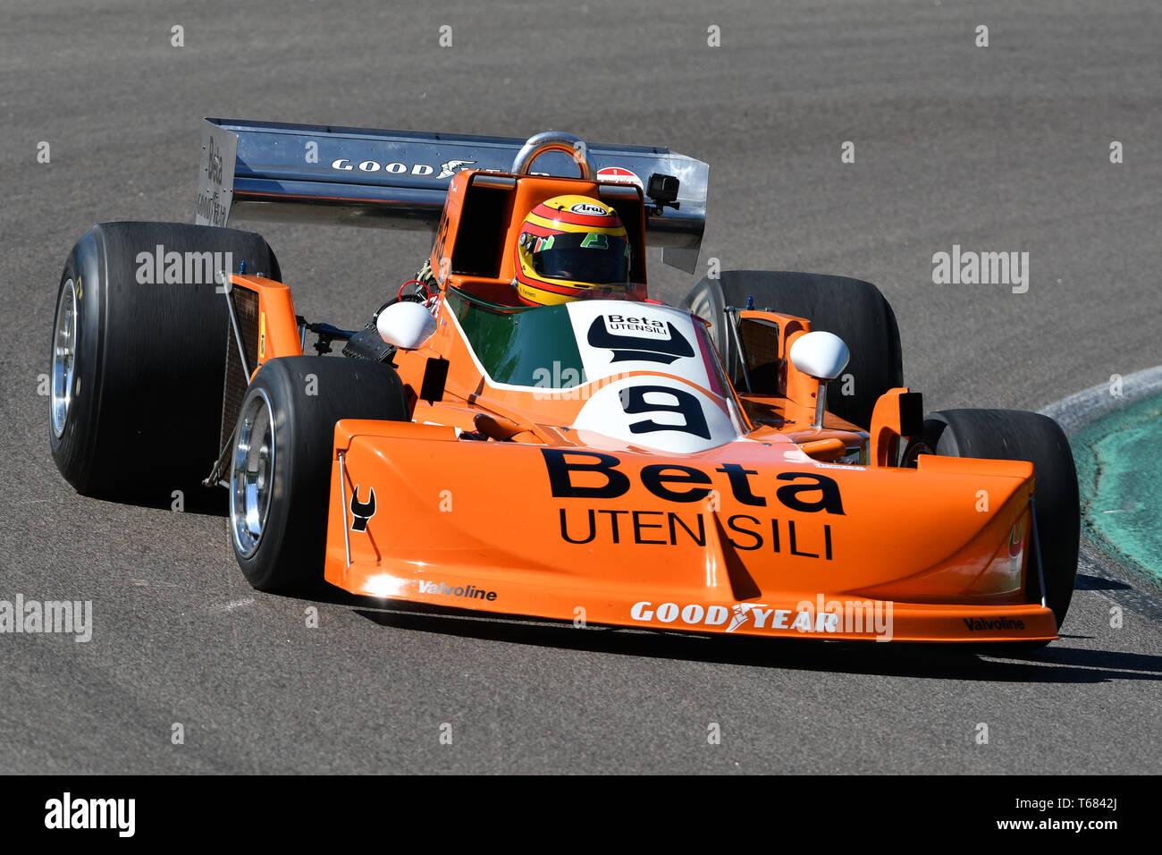 Imola, 27 avril 2019 Historique: F1 March-Cosworth 751 ex 1976 Peterson - Brambilla conduit par inconnu en action au cours de Minardi jour Historique 2019 Banque D'Images