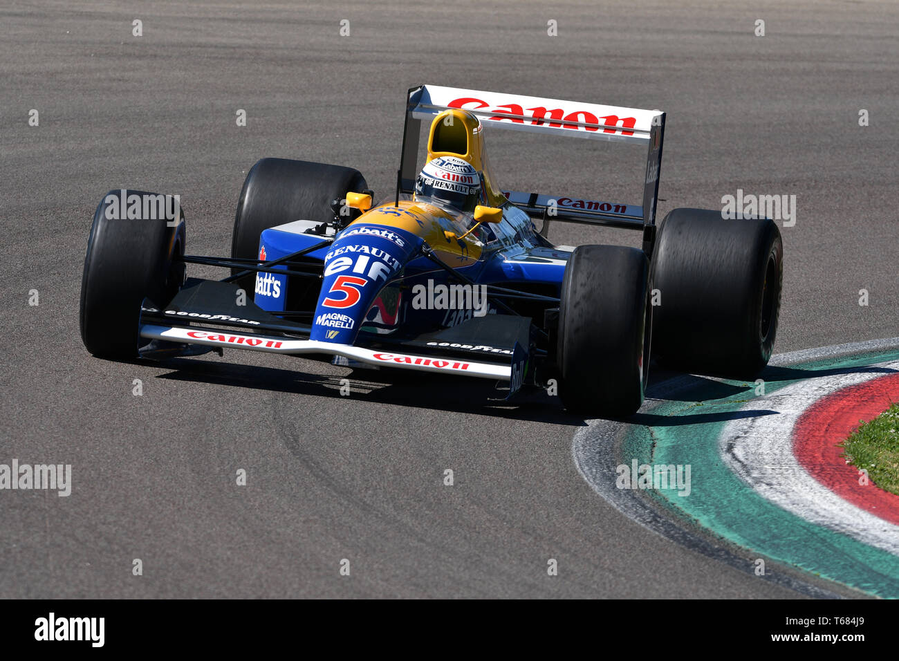 Imola, 27 avril 2019 Historique 1991: F1 Williams FW14 ex Riccardo Patrese - Nigel Mansell conduit par Riccardo Patrese au cours de Minardi jour Historique 2019 Banque D'Images