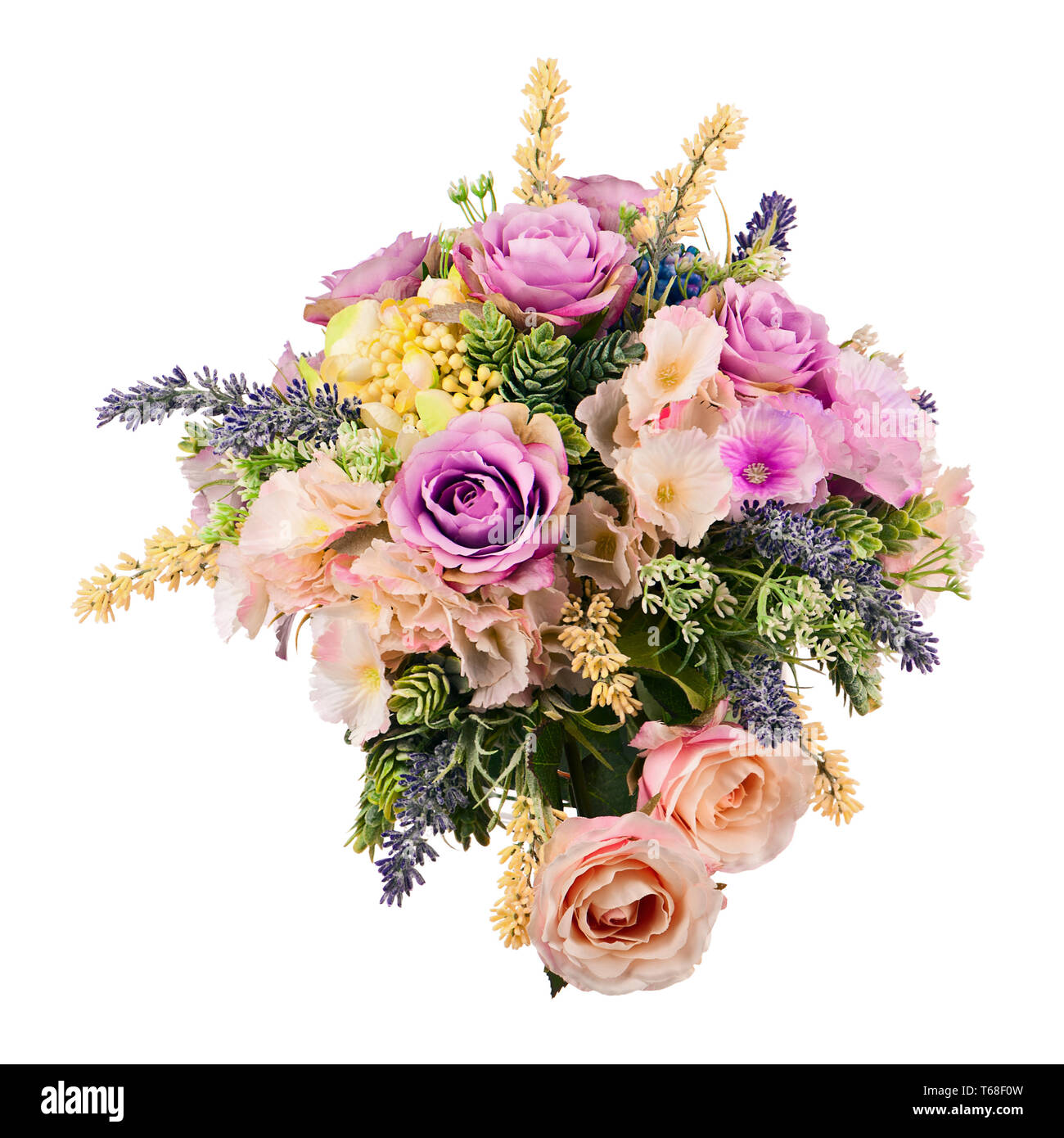 MEMORIAL vase En soie artificielle bouquet de fleurs en pot de graves ivoire