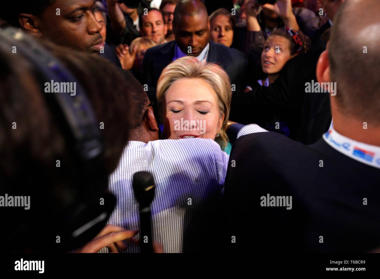 La Convention DNC à Denver, Obama leur candidat. La Sénatrice de New York Hillary Clinton a plaidé pour que l'appel décidé par acclamation. Photo Stock
