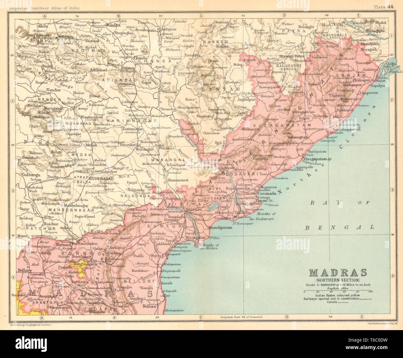 'Madras (Section Nord)'. Les provinces de l'Inde britannique. L'Andhra Pradesh map 1931 Photo Stock