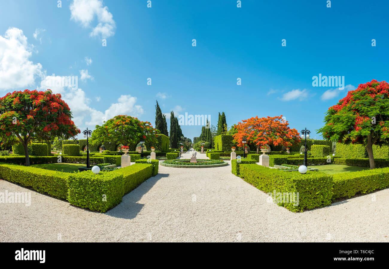 Acre (Akko). Akko Jardins Baha'i, l'emplacement du Sanctuaire de Baha'u'llah, le lieu très saint pour les gens de foi Baha'i. Photo Stock