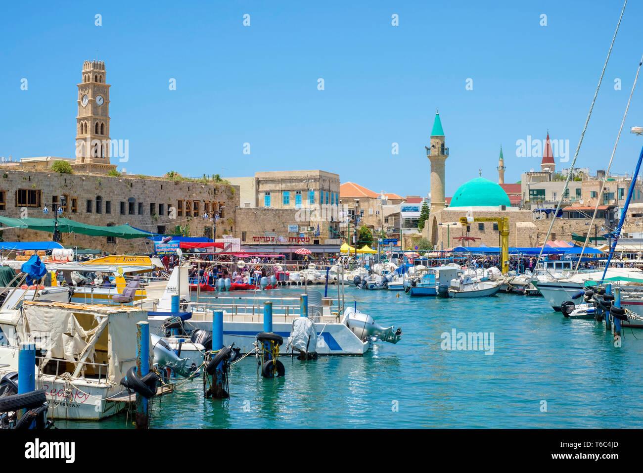 Israël, quartier Nord, Galilée, Acre (Akko). Khan al-Umdan, sinon Basha Mosque et bâtiments dans la vieille ville d'Akko harbor. Photo Stock
