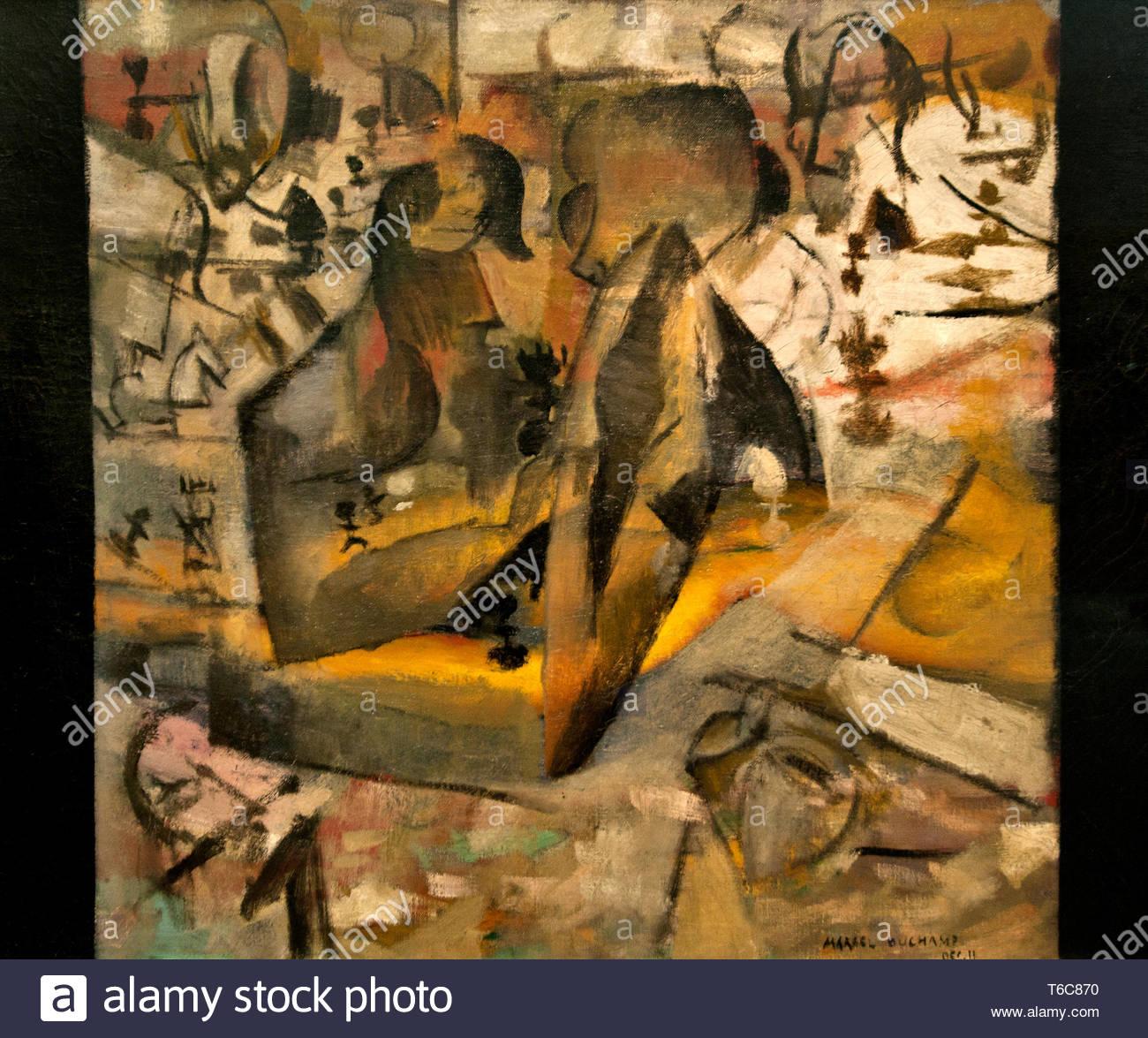 Joueurs d'échecs en 1911 par Marcel Duchamp né en France 1887 French American peintre, sculpteur, le cubisme, Dada, et l'art conceptuel. Photo Stock