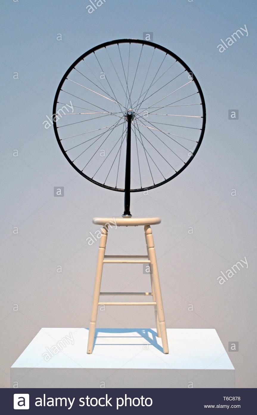 Roue de bicyclette Marcel Duchamp né en France 1887 French American peintre, sculpteur, le cubisme, Dada, et l'art conceptuel. Photo Stock