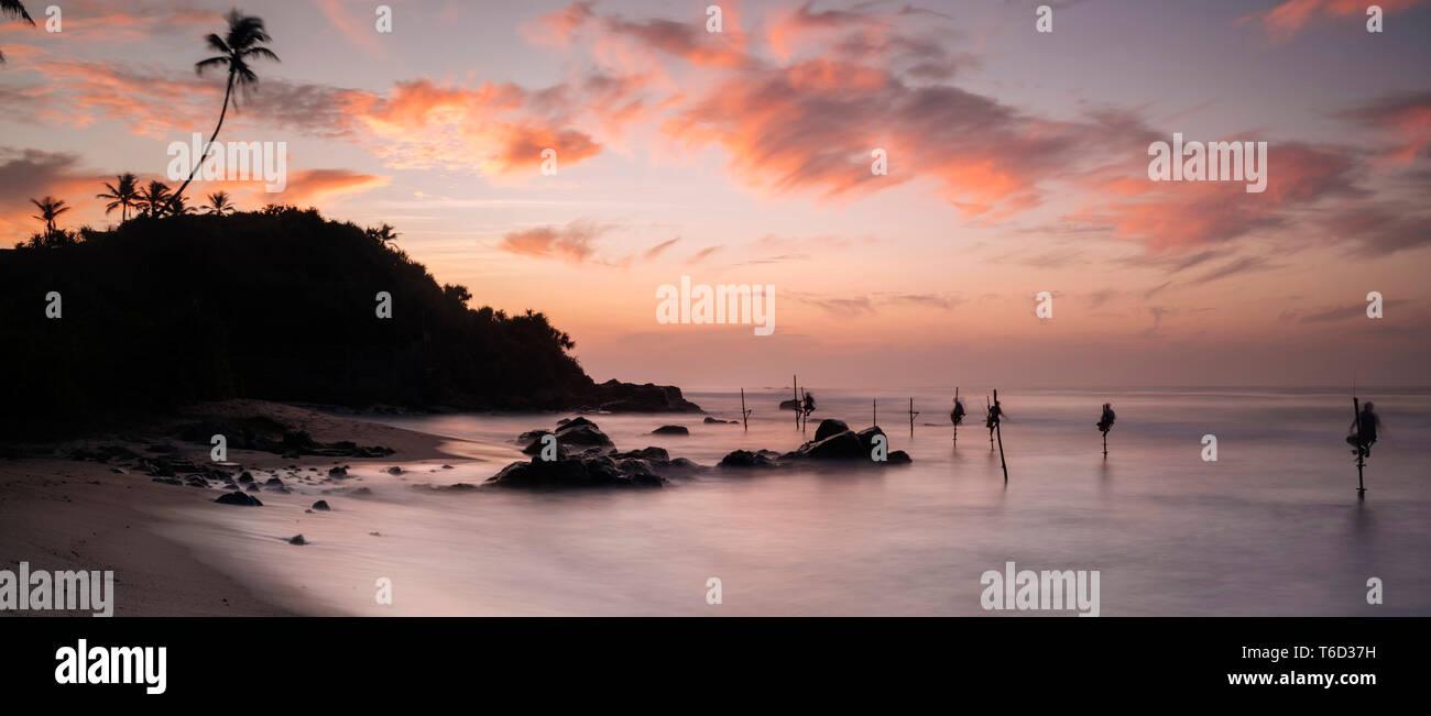 Le Weligama, Côte Sud, Sri Lanka, Asie Photo Stock