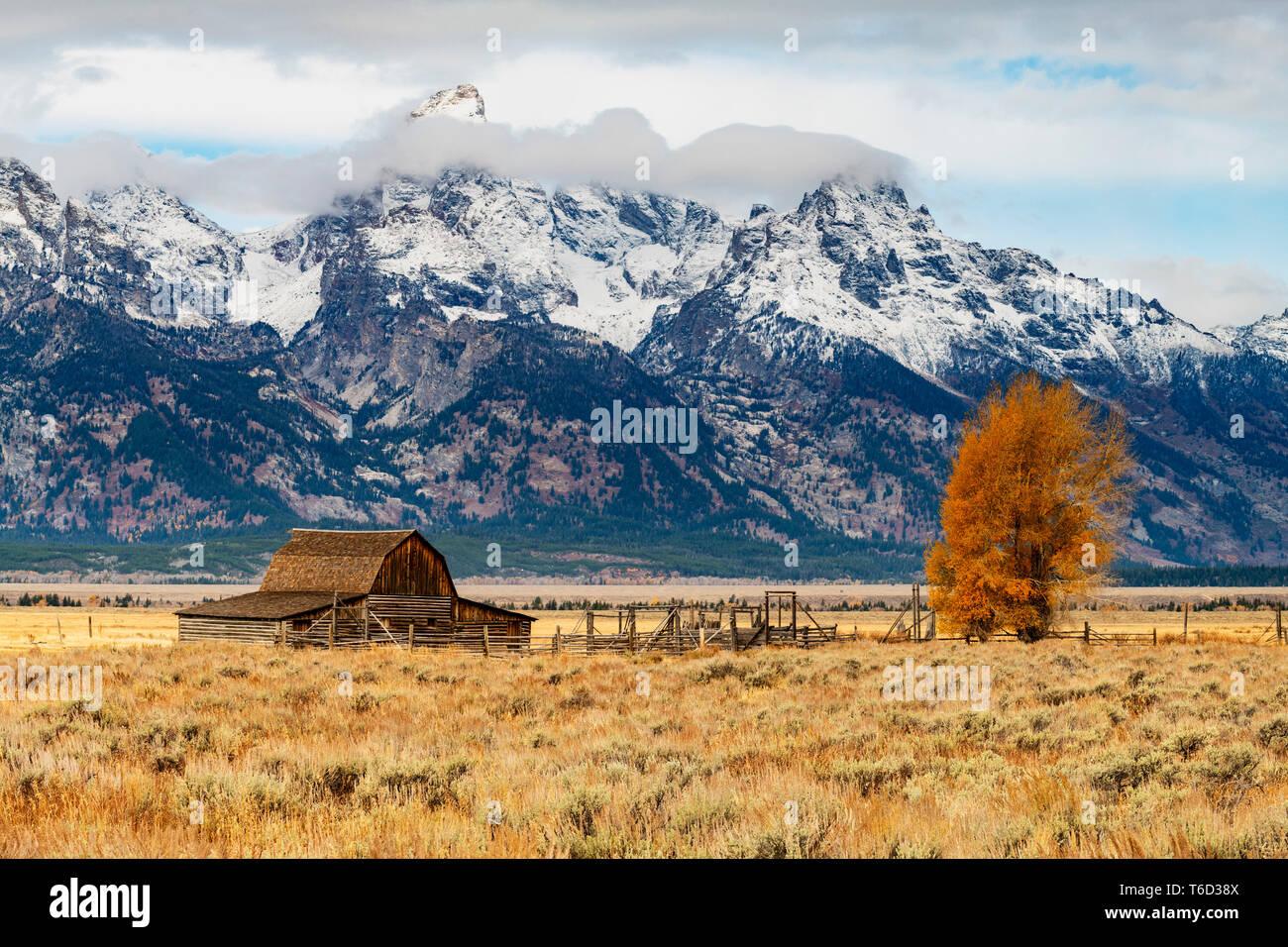 John Moulton grange historique, Mormon Row, Parc National de Grand Teton, Wyoming, USA Banque D'Images