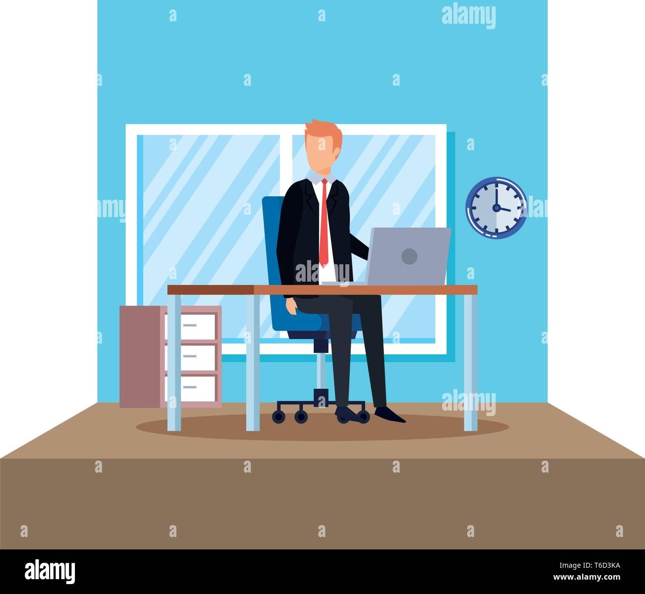 Elegant businessman dans la scène du bureau Photo Stock