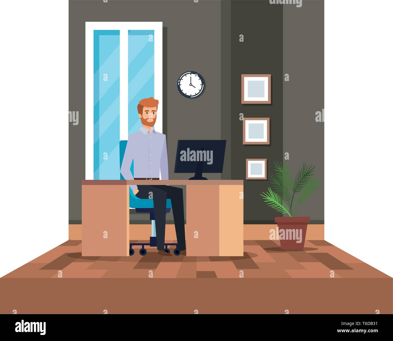 Elegant businessman dans le milieu de travail Photo Stock