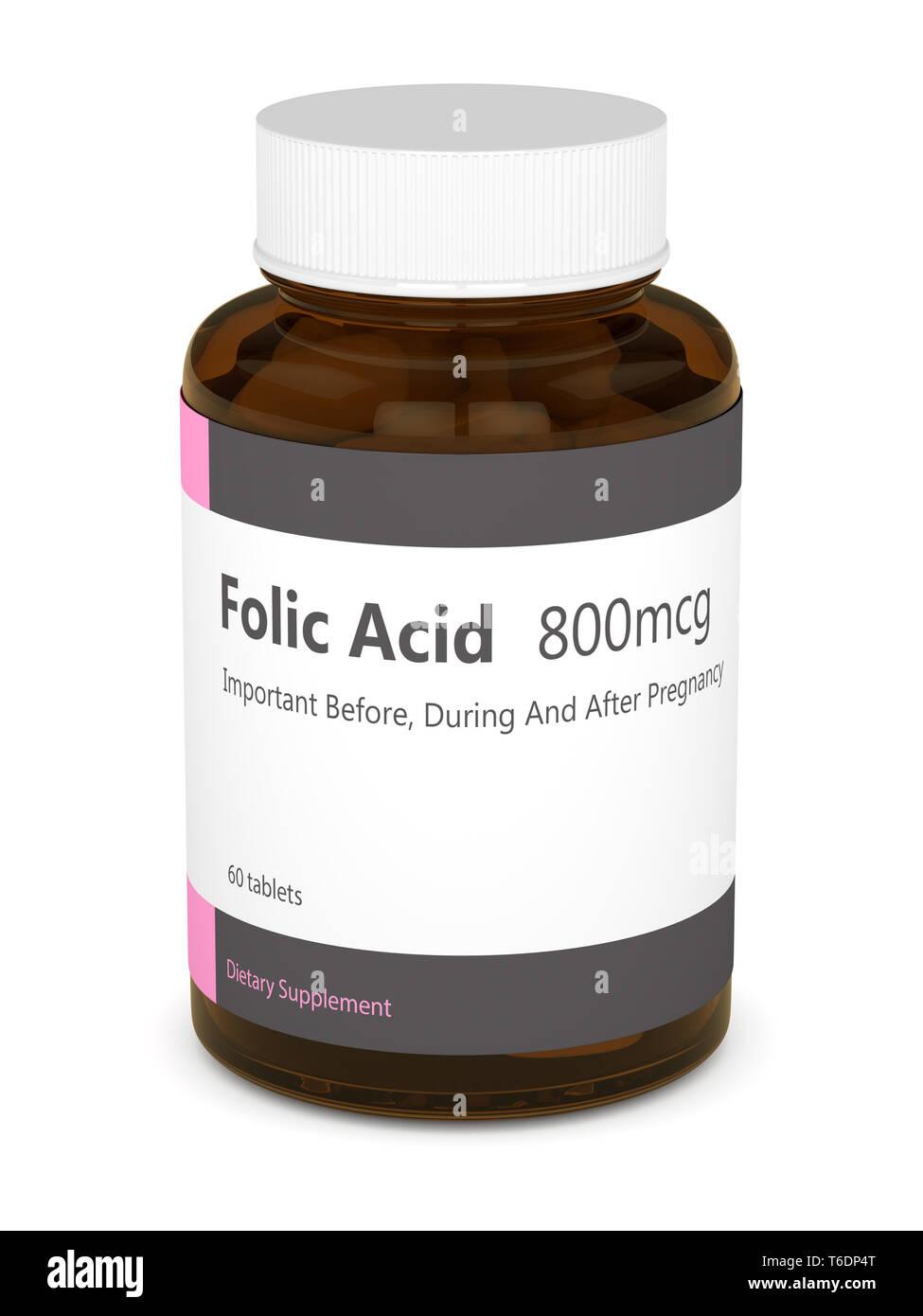 Le rendu 3D de l'acide folique avec pills isolated over white background Photo Stock