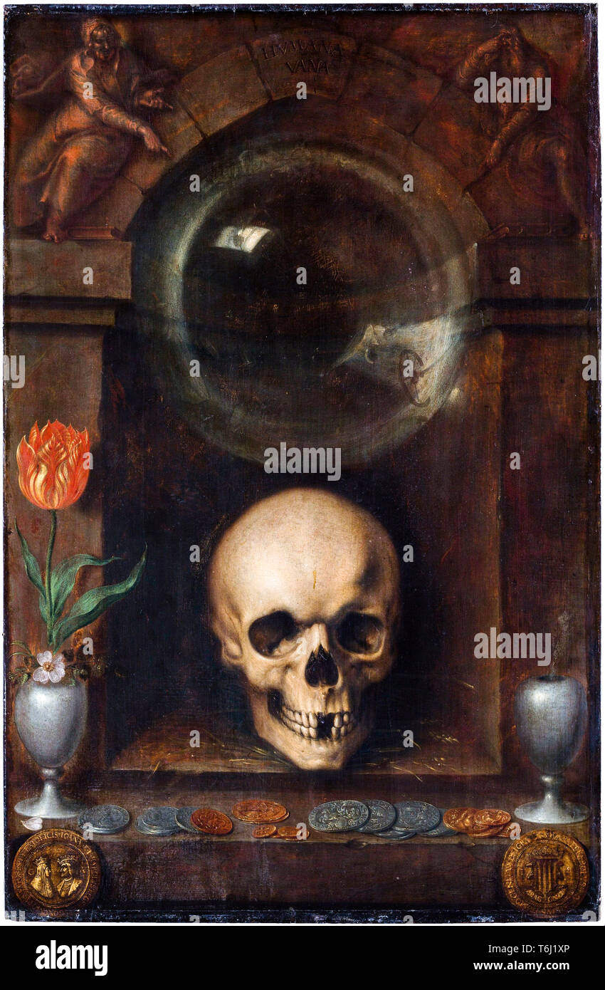 Vanitas still life, la peinture de Jacques de Gheyn II, 1603 Photo Stock