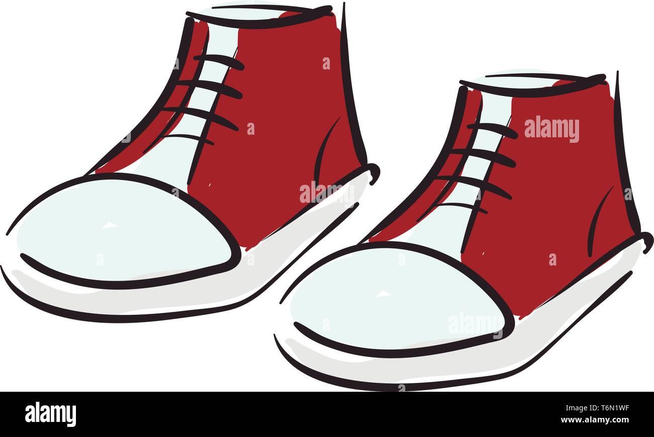 Clipart D Une Paire De Chaussures Keds Rouges Attachees Avec Des Lacets Noirs A La Base Blanche Sur Fond Blanc Vector Dessin En Couleur Ou De L Illustration Image Vectorielle Stock Alamy