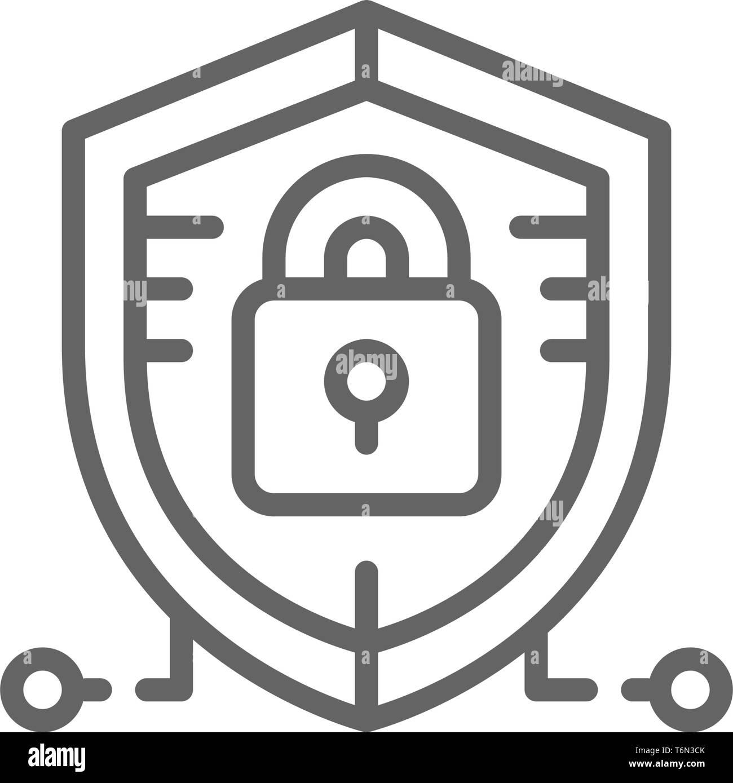 Antivirus, protection des données, l'icône de la ligne de sécurité cybernétique. Illustration de Vecteur