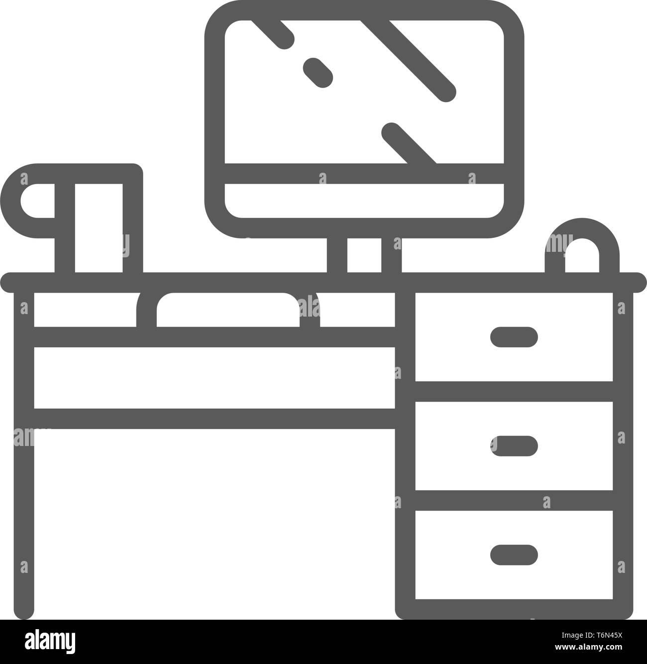 Bureau informatique, l'icône de la ligne du milieu. Isolé sur fond blanc Illustration de Vecteur