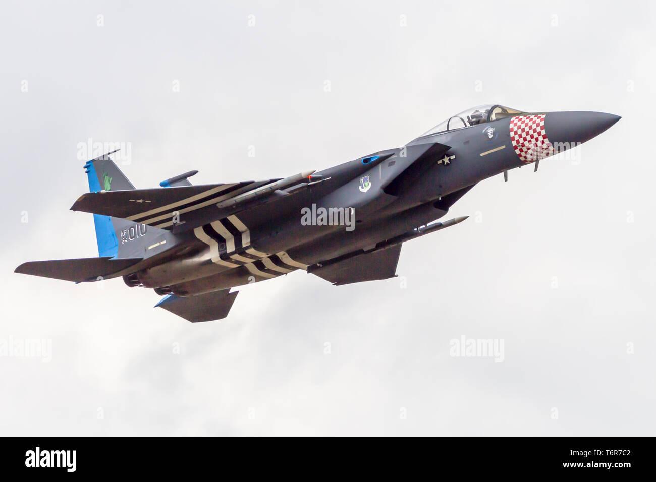 Mcdonald Douglas F-15C Eagle dans les couleurs du patrimoine spécial. Avion est de la 492th Tactical Fighter Squadron, 48th FW à RAF Lakenheath, Angleterre. Photo Stock