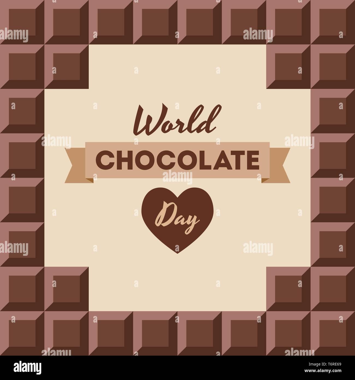 Journée mondial du chocolat.11 juillet. Сhocolate bars avec texte à l'intérieur. De conception ancienne, bannière, carte de vœux. Arrière-plan transparent. Vector illustration couleur Photo Stock
