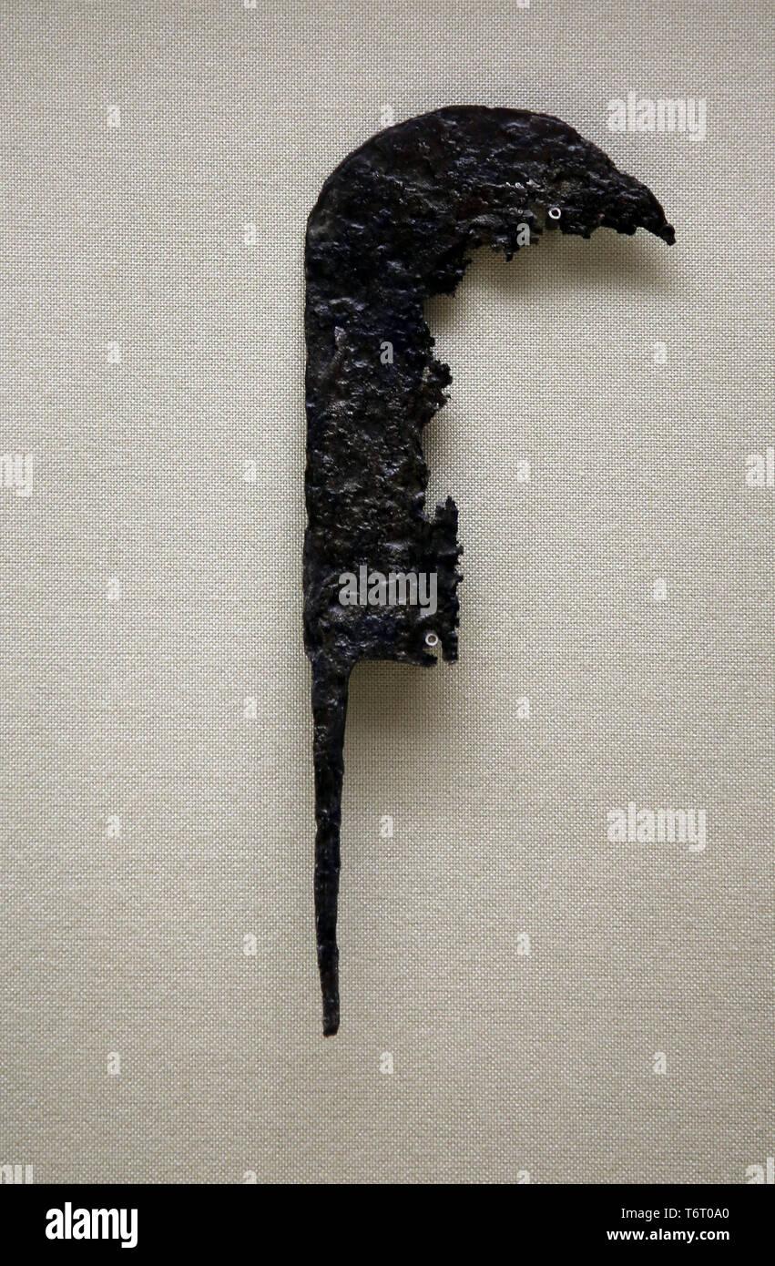 Époque Romaine. L'outil agricole. La drépanocytose. Andalousie, espagne. Musée archéologique de Séville. L'Espagne. Photo Stock