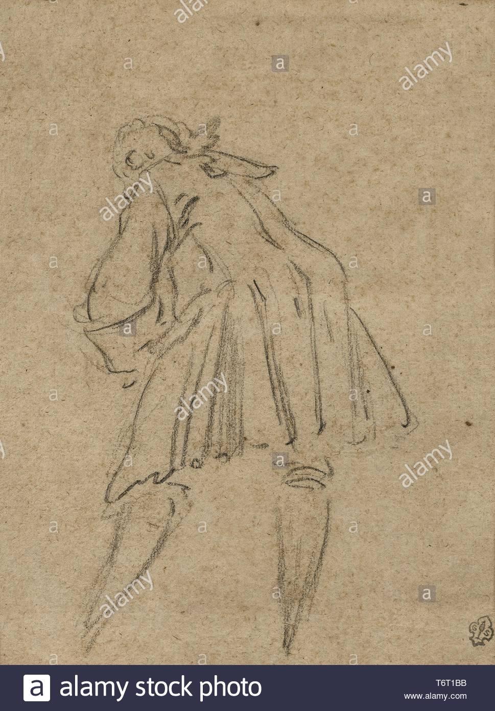 Oudry-Etude Jean-Baptiste Attribution d'un homme se penchant en avant Photo Stock
