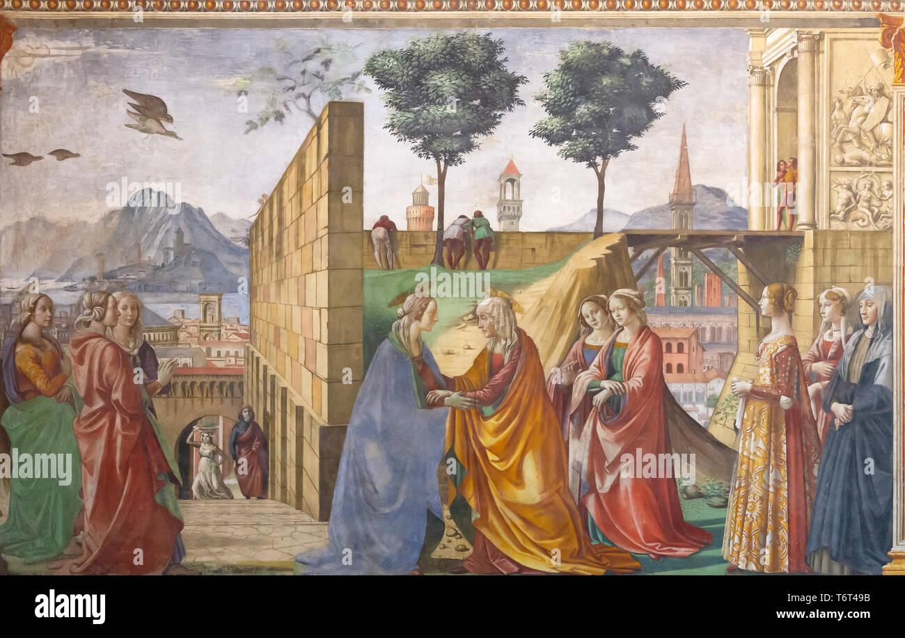 La Visitation, Marie fait escale à St Elizabeth, Domenico Ghirlandaio, 1485-1490, de la Cappella Tornabuoni, chapelle Tornabuoni, Basilica di Santa Maria Novella, Ch Photo Stock