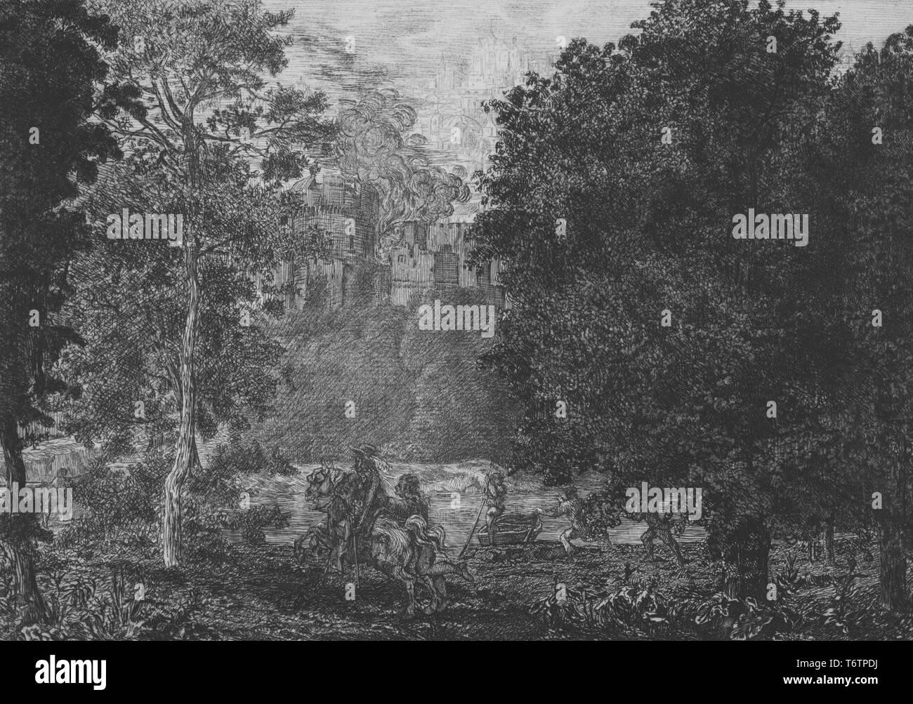 Gravure en noir et blanc, représentant une clairière le long d'une berge boisée avec plusieurs personnes se livrer à divers modes de l'activité d'urgence, y compris un homme à cheval et une personne poussant un bateau sur la rivière, avec des flammes et de la fumée s'échapper de l'article d'une ville médiévale fortifiée, visible sur la rive opposée, par l'illustrateur Félix Bracquemond, titré 'La fiamma e vicina al fuoco' (la flamme est proche de l'incendie), numérotés et signés, par l'illustrateur Félix Bracquemond, 1867. À partir de la Bibliothèque publique de New York. () Photo Stock