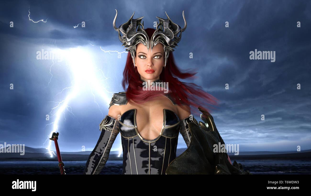 Ancien guerrier reine, femme fantaisie avec armure de combat en combat, de l'état de rendu 3D, portrait Banque D'Images