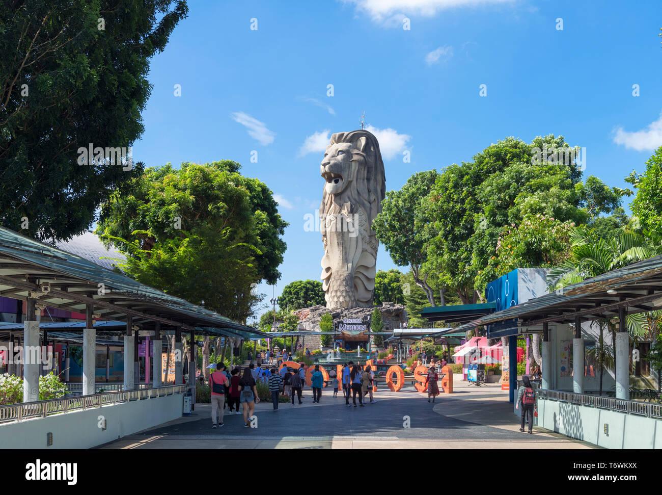 La statue du Merlion, symbole de Singapour, sur l'île de Sentosa, Singapour Banque D'Images